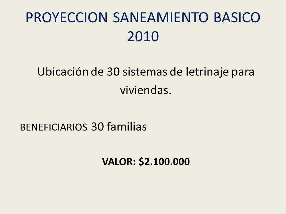 PROYECCION SANEAMIENTO BASICO 2010 Ubicación de 30 sistemas de letrinaje para viviendas. BENEFICIARIOS 30 familias VALOR: $2.100.000
