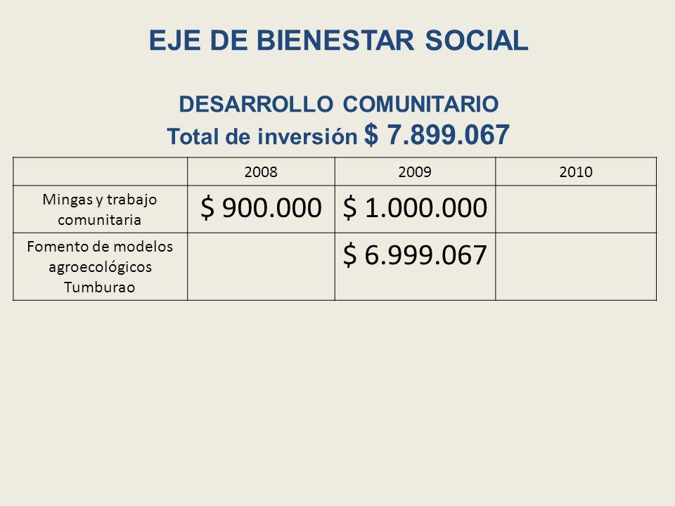 EJE DE BIENESTAR SOCIAL DESARROLLO COMUNITARIO Total de inversión $ 7.899.067 200820092010 Mingas y trabajo comunitaria $ 900.000$ 1.000.000 Fomento d