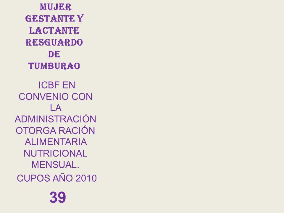 mujer GESTANTE Y LACTANTE RESGUARDO DE TUMBURAO ICBF EN CONVENIO CON LA ADMINISTRACIÓN OTORGA RACIÓN ALIMENTARIA NUTRICIONAL MENSUAL. CUPOS AÑO 2010 3