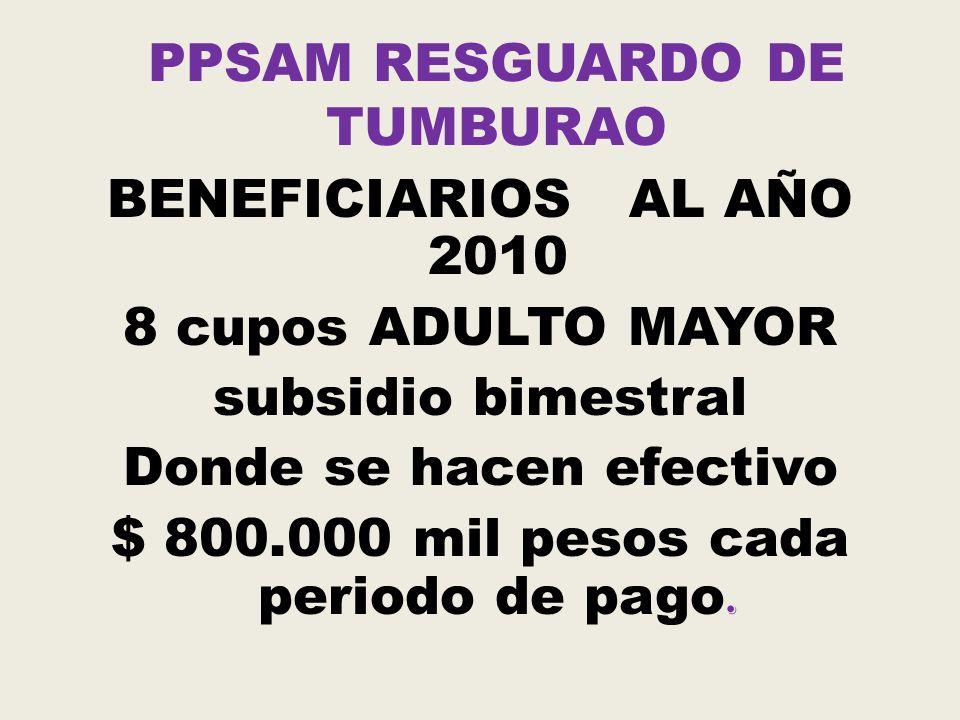 PPSAM RESGUARDO DE TUMBURAO BENEFICIARIOS AL AÑO 2010 8 cupos ADULTO MAYOR subsidio bimestral Donde se hacen efectivo $ 800.000 mil pesos cada periodo