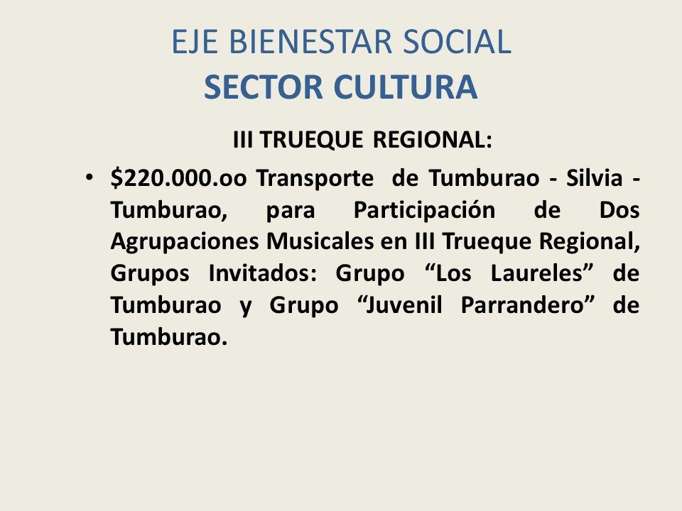EJE BIENESTAR SOCIAL SECTOR CULTURA III TRUEQUE REGIONAL: $220.000.oo Transporte de Tumburao - Silvia - Tumburao, para Participación de Dos Agrupacion