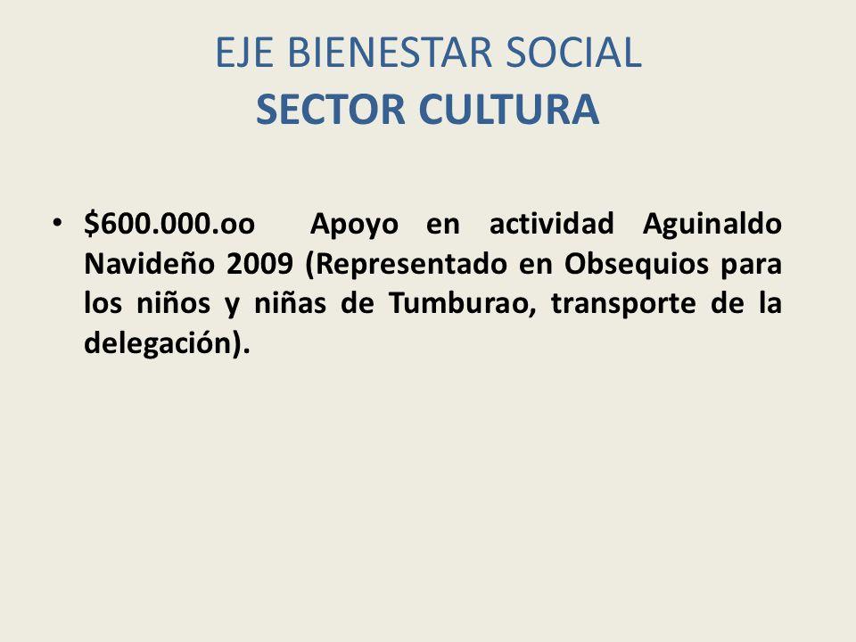EJE BIENESTAR SOCIAL SECTOR CULTURA $600.000.oo Apoyo en actividad Aguinaldo Navideño 2009 (Representado en Obsequios para los niños y niñas de Tumbur