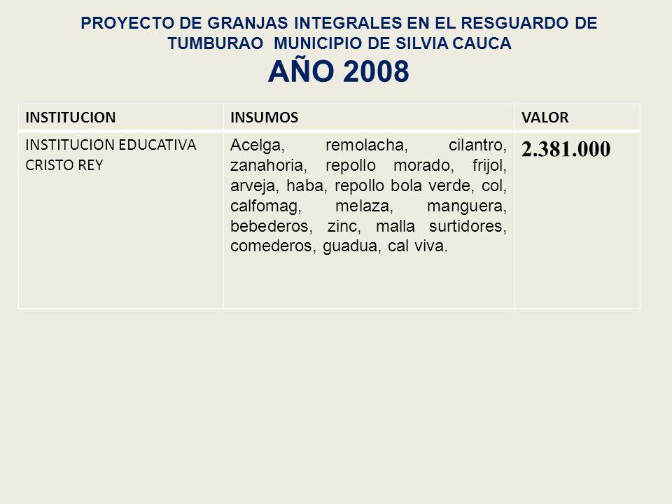 PROYECTO DE GRANJAS INTEGRALES EN EL RESGUARDO DE TUMBURAO MUNICIPIO DE SILVIA CAUCA AÑO 2008 INSTITUCIONINSUMOSVALOR INSTITUCION EDUCATIVA CRISTO REY
