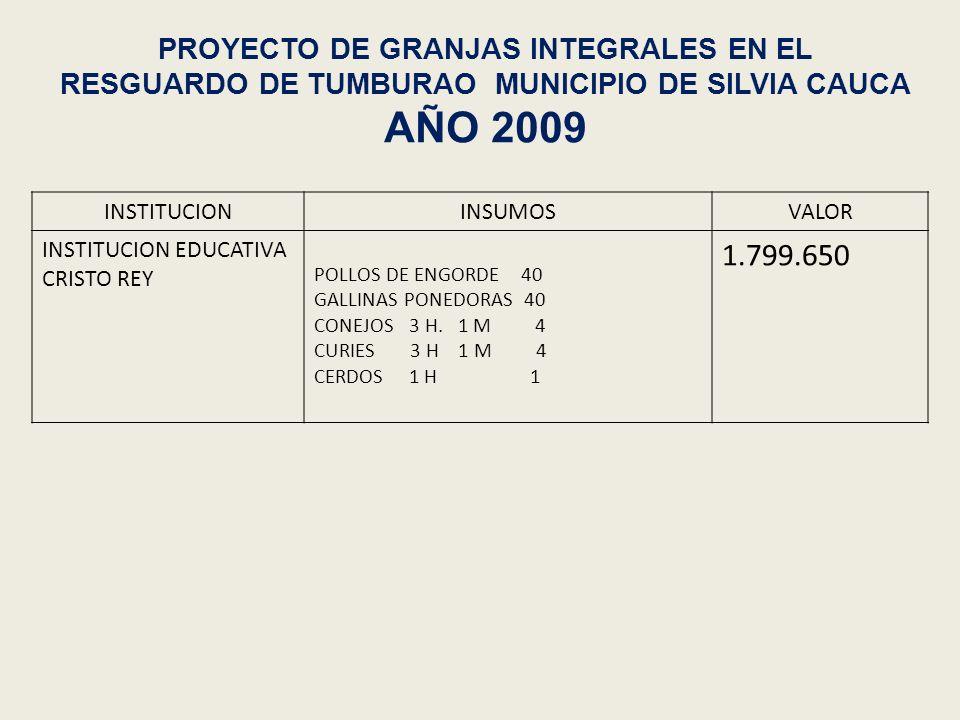 PROYECTO DE GRANJAS INTEGRALES EN EL RESGUARDO DE TUMBURAO MUNICIPIO DE SILVIA CAUCA AÑO 2009 INSTITUCIONINSUMOSVALOR INSTITUCION EDUCATIVA CRISTO REY