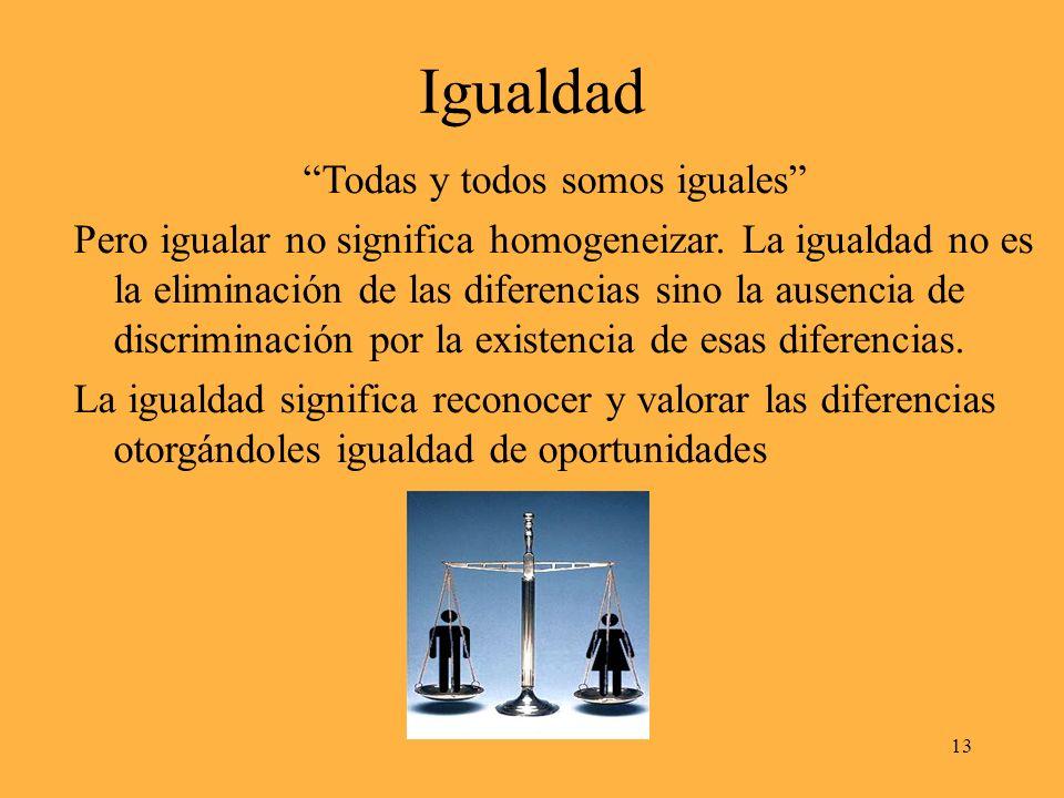 Igualdad Todas y todos somos iguales Pero igualar no significa homogeneizar.