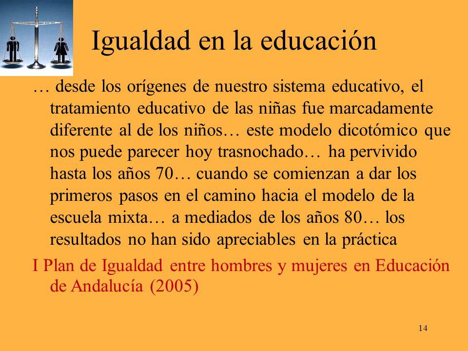 Igualdad en la educación … desde los orígenes de nuestro sistema educativo, el tratamiento educativo de las niñas fue marcadamente diferente al de los niños… este modelo dicotómico que nos puede parecer hoy trasnochado… ha pervivido hasta los años 70… cuando se comienzan a dar los primeros pasos en el camino hacia el modelo de la escuela mixta… a mediados de los años 80… los resultados no han sido apreciables en la práctica I Plan de Igualdad entre hombres y mujeres en Educación de Andalucía (2005) 14