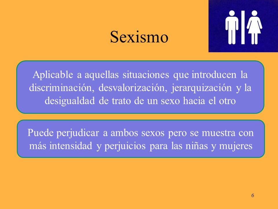 Sexismo 6 Aplicable a aquellas situaciones que introducen la discriminación, desvalorización, jerarquización y la desigualdad de trato de un sexo hacia el otro Puede perjudicar a ambos sexos pero se muestra con más intensidad y perjuicios para las niñas y mujeres