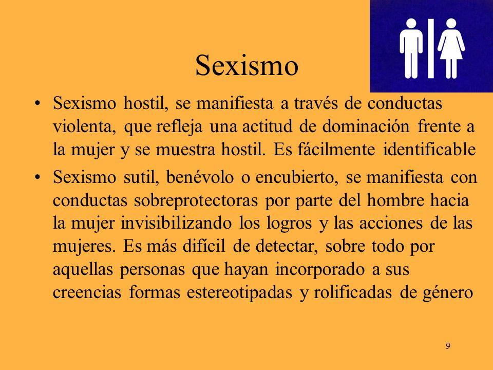 Sexismo Sexismo hostil, se manifiesta a través de conductas violenta, que refleja una actitud de dominación frente a la mujer y se muestra hostil.