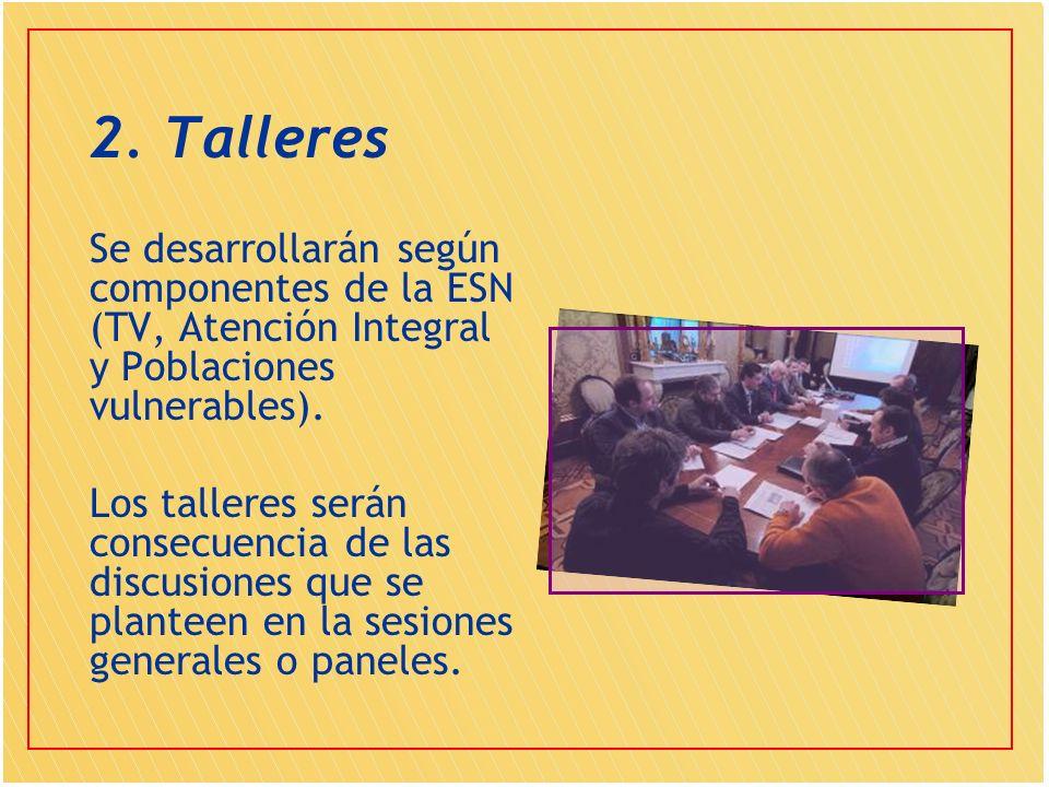 2. Talleres Se desarrollarán según componentes de la ESN (TV, Atención Integral y Poblaciones vulnerables). Los talleres serán consecuencia de las dis
