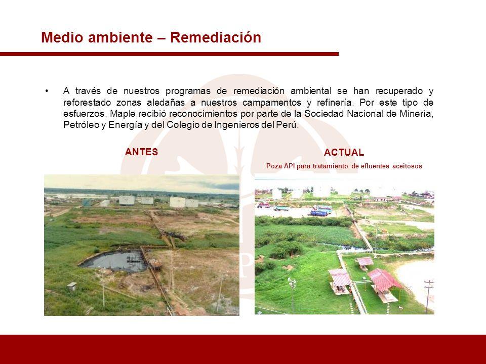 Medio ambiente – Remediación A través de nuestros programas de remediación ambiental se han recuperado y reforestado zonas aledañas a nuestros campame