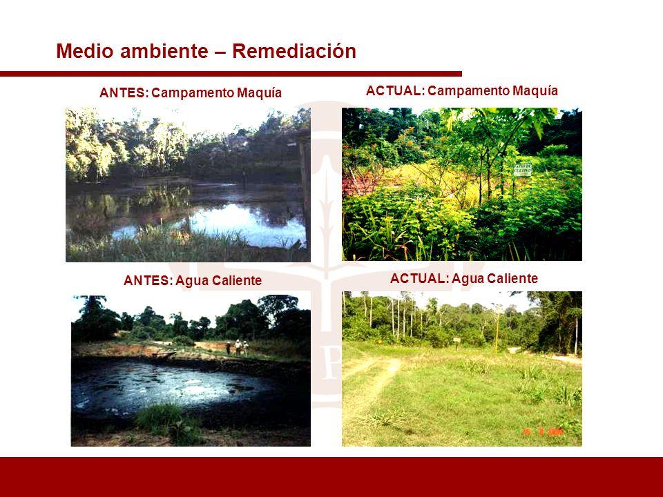 Medio ambiente – Remediación ANTES: Campamento Maquía ACTUAL: Campamento Maquía ANTES: Agua Caliente ACTUAL: Agua Caliente