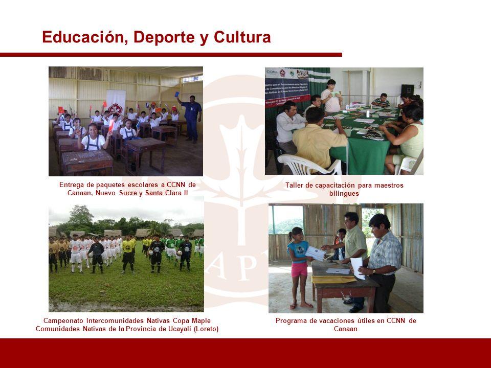 Taller de capacitación para maestros bilingues Campeonato Intercomunidades Nativas Copa Maple Comunidades Nativas de la Provincia de Ucayali (Loreto)