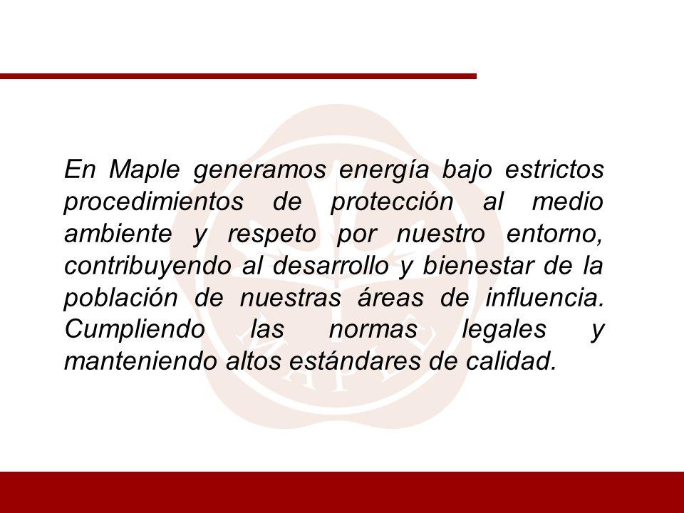 En Maple generamos energía bajo estrictos procedimientos de protección al medio ambiente y respeto por nuestro entorno, contribuyendo al desarrollo y