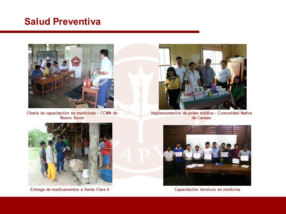 Implementación de posta médica – Comunidad Nativa de Canaan Entrega de medicamentos a Santa Clara II Salud Preventiva Charla de capacitación en medici