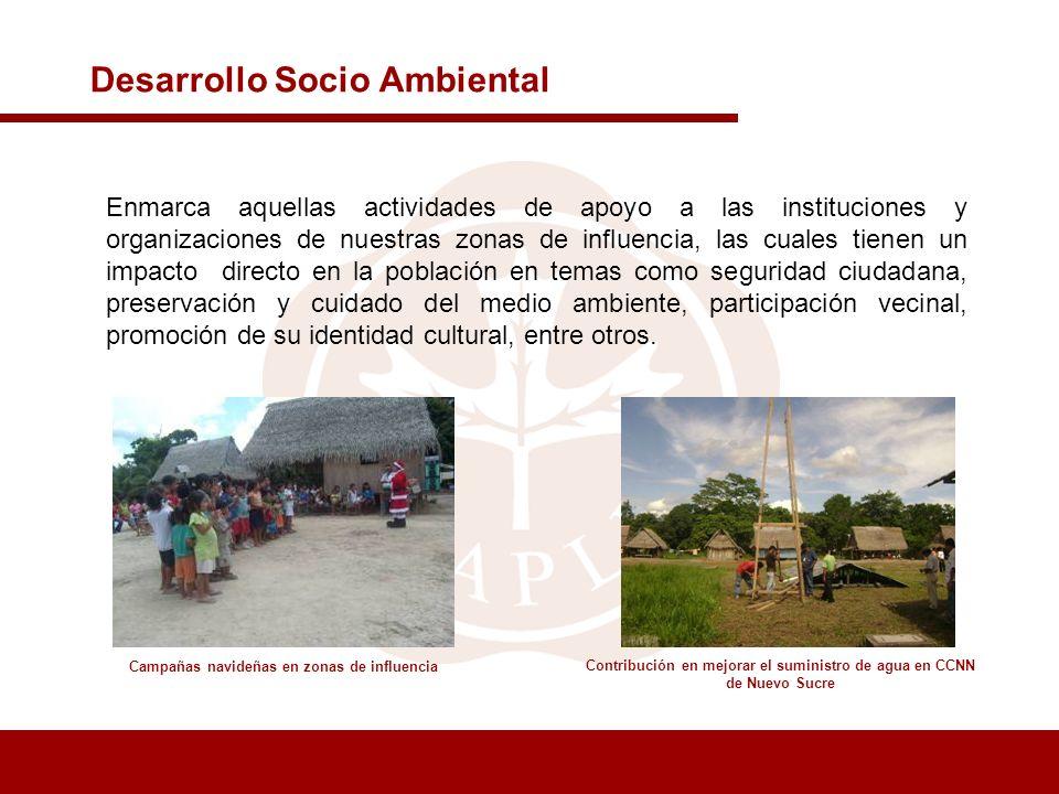 Desarrollo Socio Ambiental Enmarca aquellas actividades de apoyo a las instituciones y organizaciones de nuestras zonas de influencia, las cuales tien