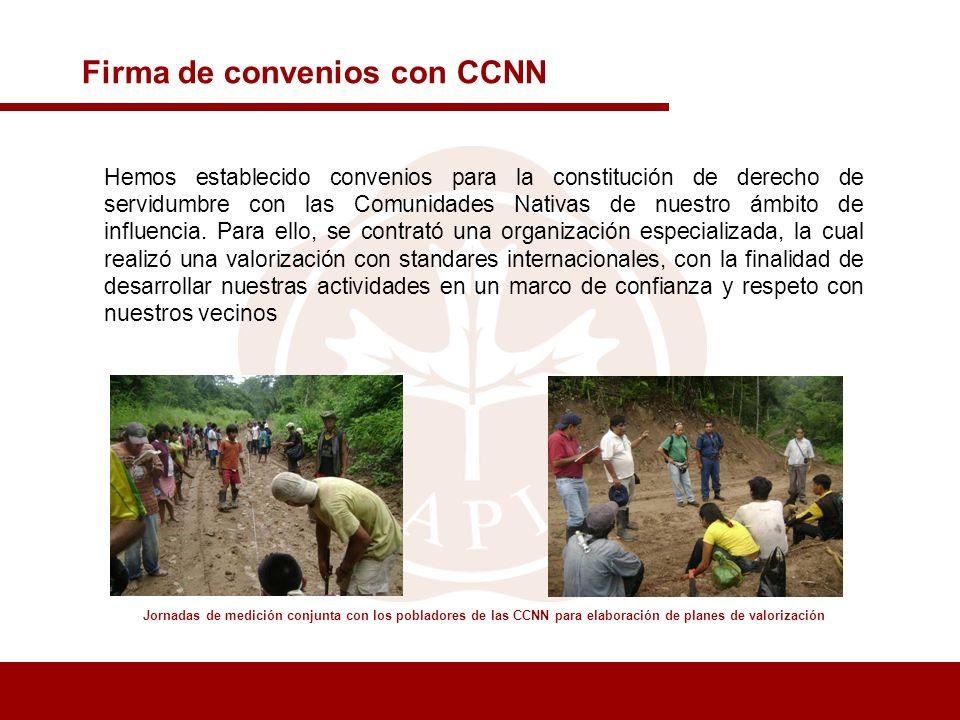 Firma de convenios con CCNN Jornadas de medición conjunta con los pobladores de las CCNN para elaboración de planes de valorización Hemos establecido