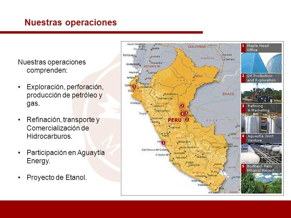 Nuestras operaciones Nuestras operaciones comprenden: Exploración, perforación, producción de petróleo y gas. Refinación, transporte y Comercializació