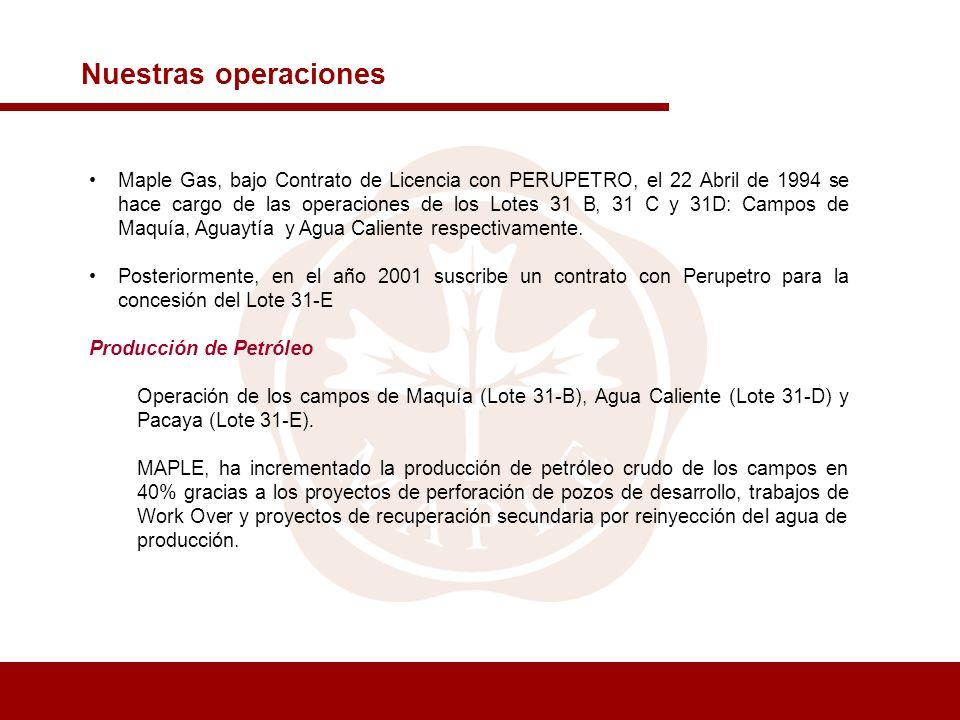 Maple Gas, bajo Contrato de Licencia con PERUPETRO, el 22 Abril de 1994 se hace cargo de las operaciones de los Lotes 31 B, 31 C y 31D: Campos de Maqu