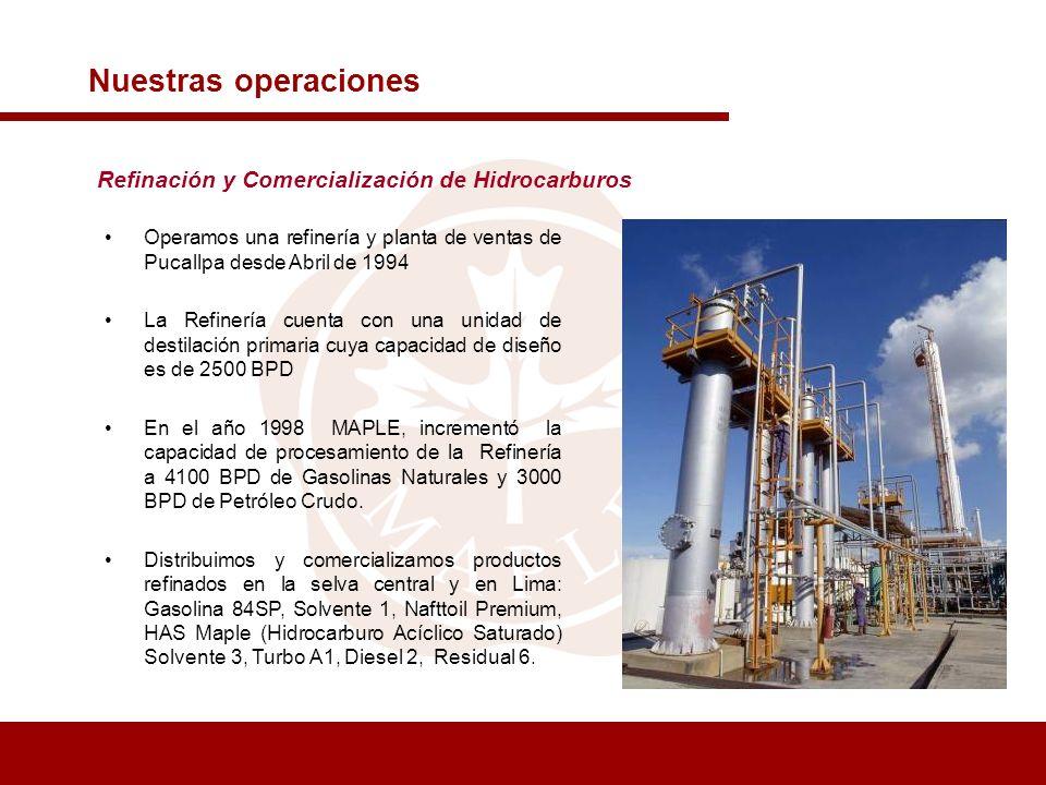 Refinación y Comercialización de Hidrocarburos Nuestras operaciones Operamos una refinería y planta de ventas de Pucallpa desde Abril de 1994 La Refin