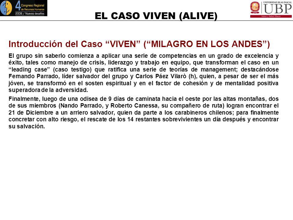 EL CASO VIVEN (ALIVE) Introducción del Caso VIVEN (MILAGRO EN LOS ANDES) http://www.viven.com.uy (15`) http://www.viven.com.uy El 13 de Octubre de 197