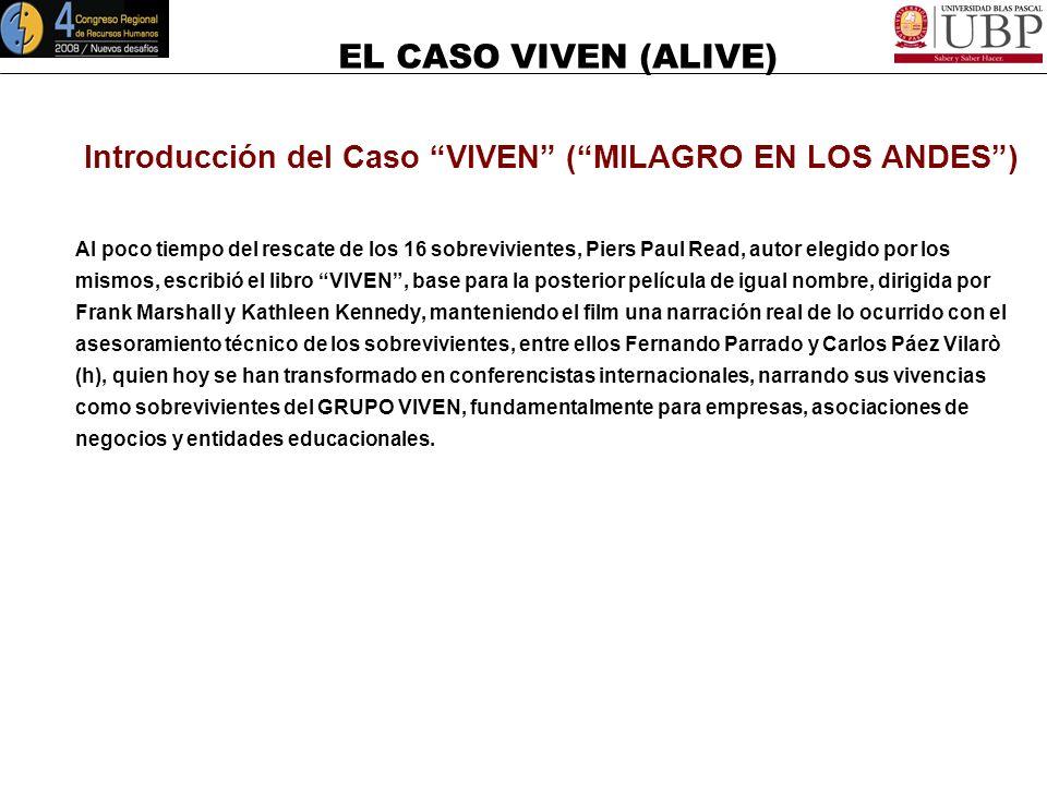 EL CASO VIVEN (ALIVE) Introducción del Caso VIVEN (MILAGRO EN LOS ANDES) El grupo sin saberlo comienza a aplicar una serie de competencias en un grado