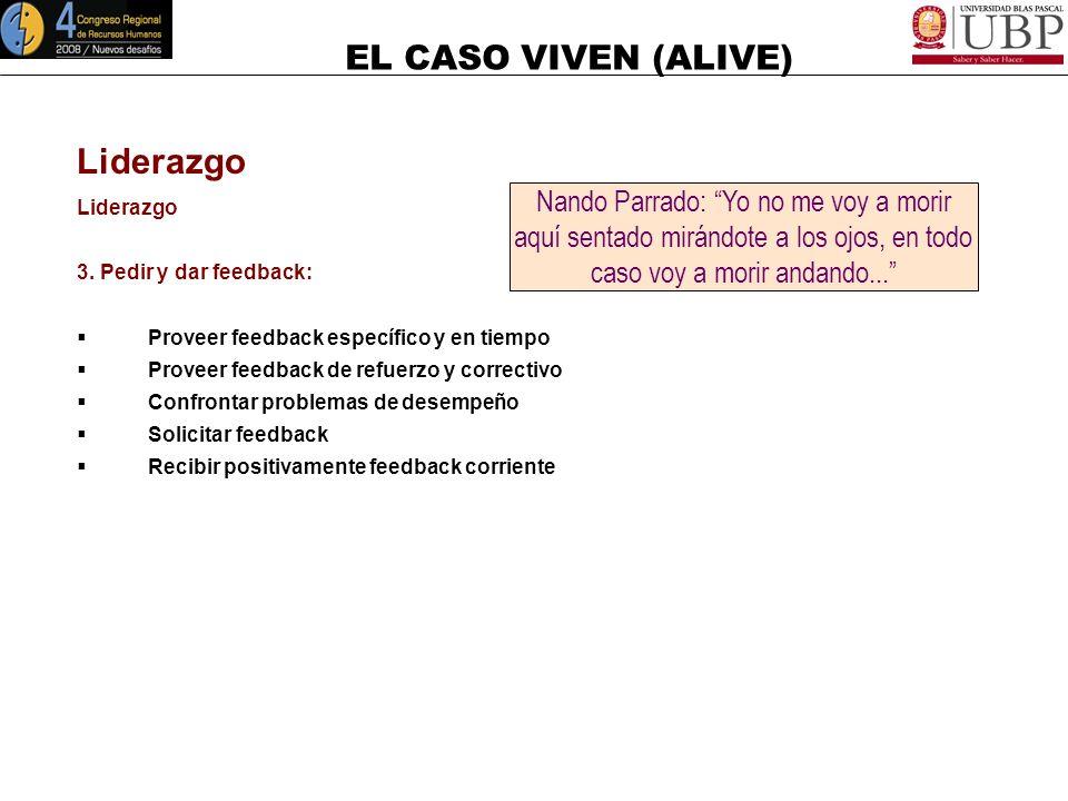 EL CASO VIVEN (ALIVE) Liderazgo 2. Revisar el progreso: Conducir regularmente reuniones de revisión Conducir reuniones de resolución de problemas Reco