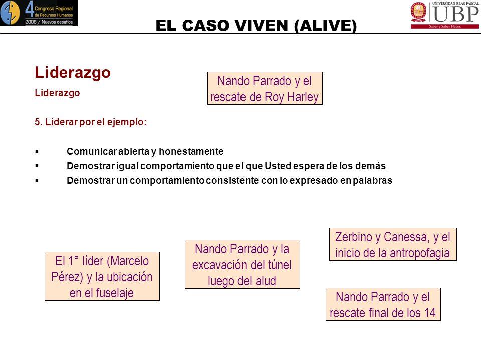 EL CASO VIVEN (ALIVE) Liderazgo 4. Apoyar y desarrollar a la gente: Aceptar responsabilidades por problemas Formar y dar coaching a los individuos Est