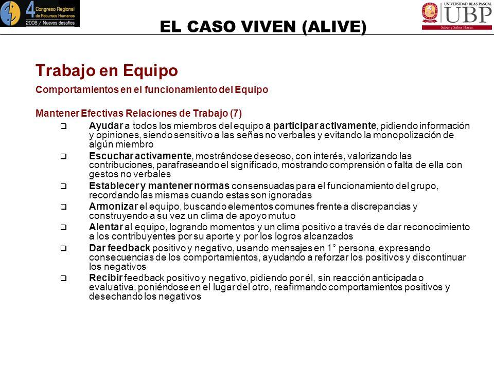 EL CASO VIVEN (ALIVE) Trabajo en Equipo Comportamientos en el funcionamiento del Equipo Facilitar la Tarea (7) Iniciar la tarea, definiendo claramente