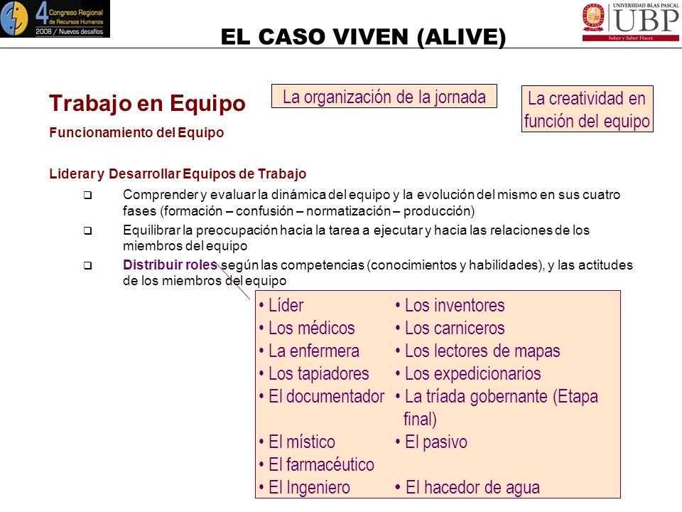 EL CASO VIVEN (ALIVE) Trabajo en Equipo Comportamientos en el funcionamiento del Equipo Mantener Efectivas Relaciones de Trabajo (7) Ayudar a todos lo