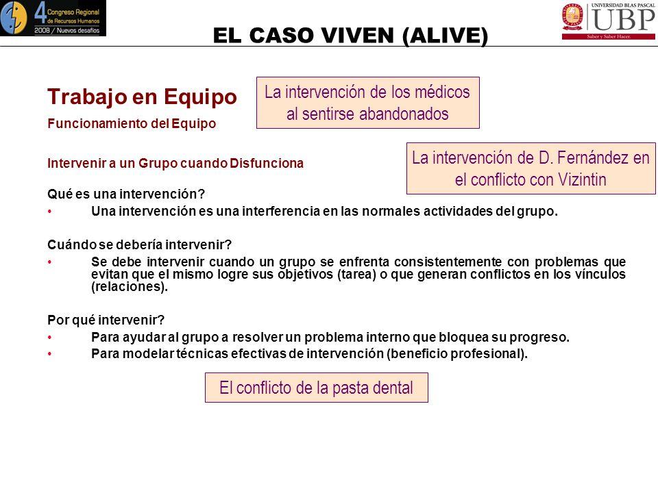 EL CASO VIVEN (ALIVE) Trabajo en Equipo Funcionamiento del Equipo Liderar y Desarrollar Equipos de Trabajo Comprender y evaluar la dinámica del equipo