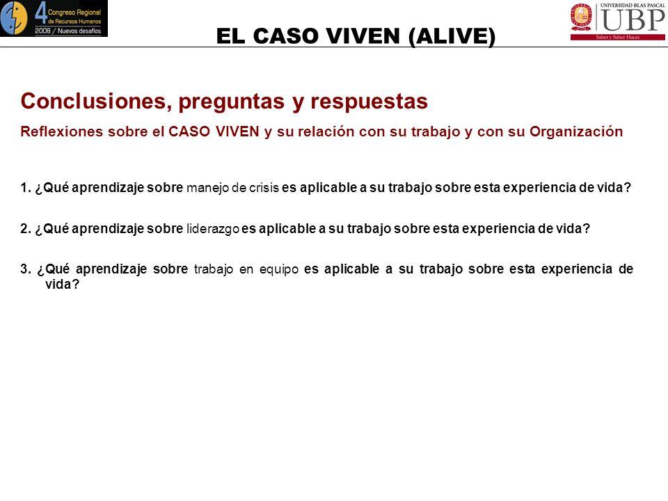 EL CASO VIVEN (ALIVE) Trabajo en Equipo Funcionamiento del Equipo Liderar y Desarrollar Equipos de Trabajo Las Cuatro Fases en la Evolución Fase 3: No