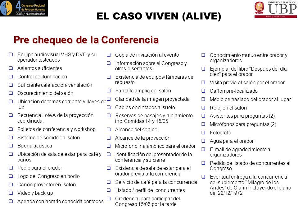 EL CASO VIVEN (ALIVE) Cierre La teoría sin la práctica es manca, y la práctica sin la teoría es ciega Leonardo Da Vinci ¡¡¡GRACIAS!!!