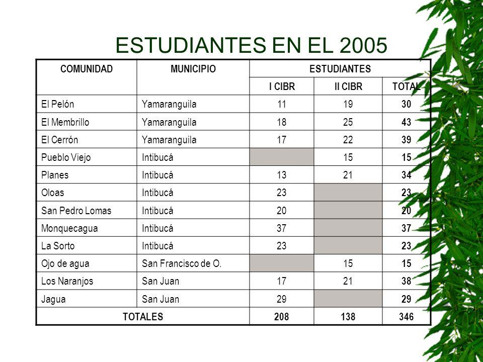 GRUPOS 2005 Grupos 2004 y Crecimiento Vegetativo - Los Naranjos- El Membrillo - El Pelón- El Cerron - Pueblo Viejo- Ojos de Agua - Planes de Río Grand