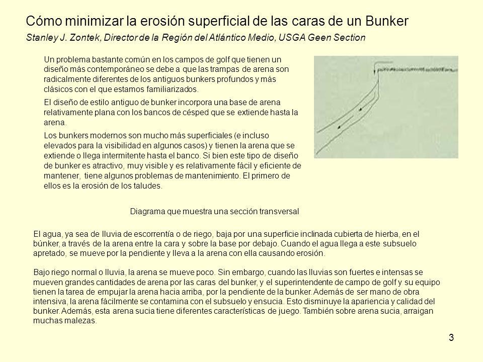 3 Cómo minimizar la erosión superficial de las caras de un Bunker Stanley J. Zontek, Director de la Región del Atlántico Medio, USGA Geen Section Un p