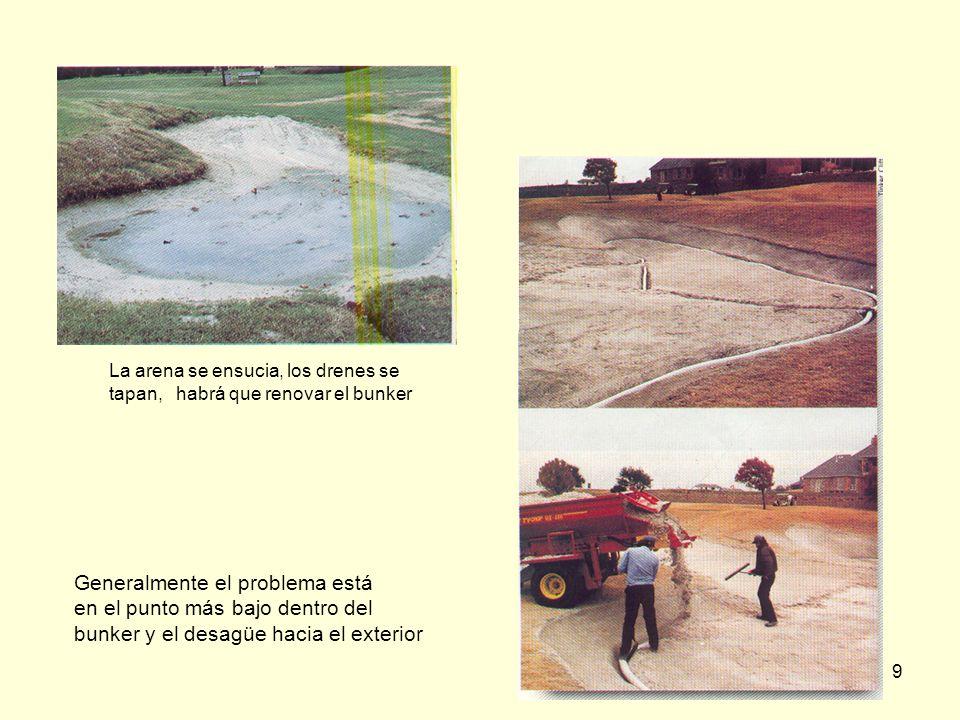 9 Generalmente el problema está en el punto más bajo dentro del bunker y el desagüe hacia el exterior La arena se ensucia, los drenes se tapan, habrá