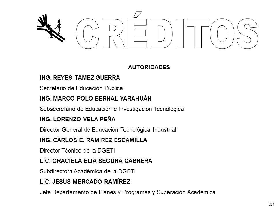 124 AUTORIDADES ING.REYES TAMEZ GUERRA Secretario de Educación Pública ING.