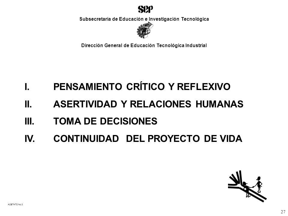 I. PENSAMIENTO CRÍTICO Y REFLEXIVO II.ASERTIVIDAD Y RELACIONES HUMANAS III.TOMA DE DECISIONES IV.CONTINUIDAD DEL PROYECTO DE VIDA ACETATO No.3 Subsecr