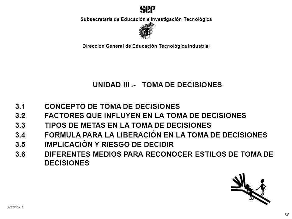 ACETATO No.6 UNIDAD III.- TOMA DE DECISIONES 3.1 CONCEPTO DE TOMA DE DECISIONES 3.2FACTORES QUE INFLUYEN EN LA TOMA DE DECISIONES 3.3TIPOS DE METAS EN LA TOMA DE DECISIONES 3.4FORMULA PARA LA LIBERACIÓN EN LA TOMA DE DECISIONES 3.5IMPLICACIÓN Y RIESGO DE DECIDIR 3.6DIFERENTES MEDIOS PARA RECONOCER ESTILOS DE TOMA DE DECISIONES Subsecretaría de Educación e Investigación Tecnológica Dirección General de Educación Tecnológica Industrial 30