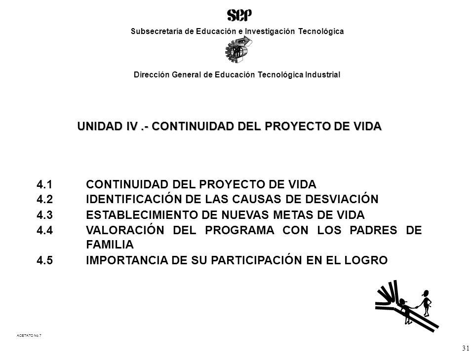 UNIDAD IV.- CONTINUIDAD DEL PROYECTO DE VIDA 4.1CONTINUIDAD DEL PROYECTO DE VIDA 4.2IDENTIFICACIÓN DE LAS CAUSAS DE DESVIACIÓN 4.3ESTABLECIMIENTO DE NUEVAS METAS DE VIDA 4.4VALORACIÓN DEL PROGRAMA CON LOS PADRES DE FAMILIA 4.5IMPORTANCIA DE SU PARTICIPACIÓN EN EL LOGRO ACETATO No.7 Subsecretaría de Educación e Investigación Tecnológica Dirección General de Educación Tecnológica Industrial 31
