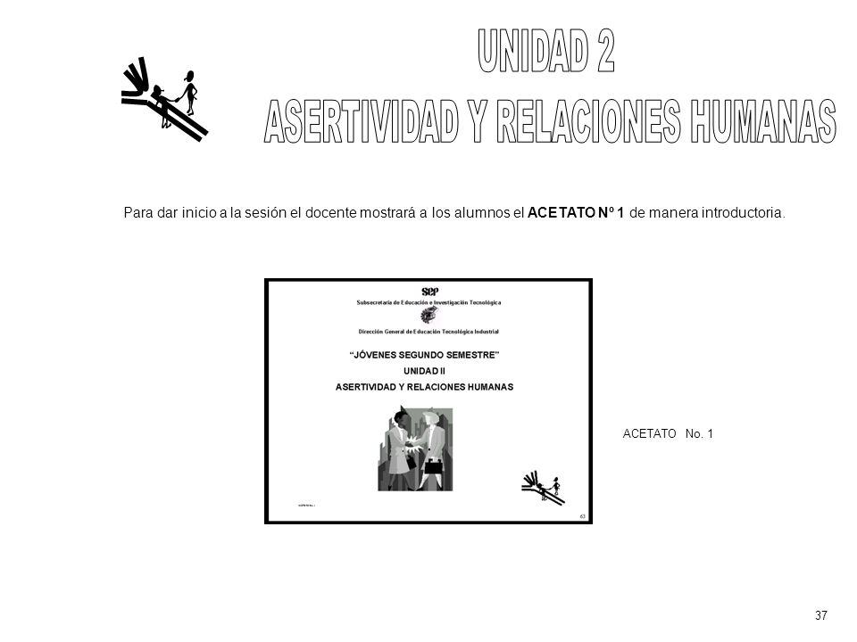 Para dar inicio a la sesión el docente mostrará a los alumnos el ACETATO Nº 1 de manera introductoria.