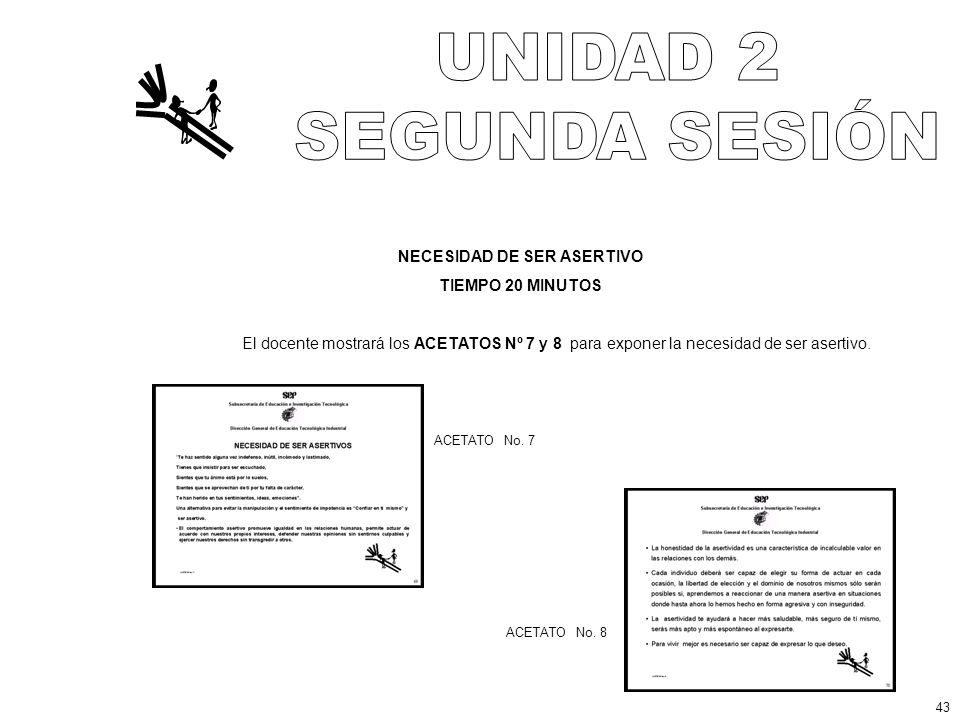 NECESIDAD DE SER ASERTIVO TIEMPO 20 MINUTOS El docente mostrará los ACETATOS Nº 7 y 8 para exponer la necesidad de ser asertivo.