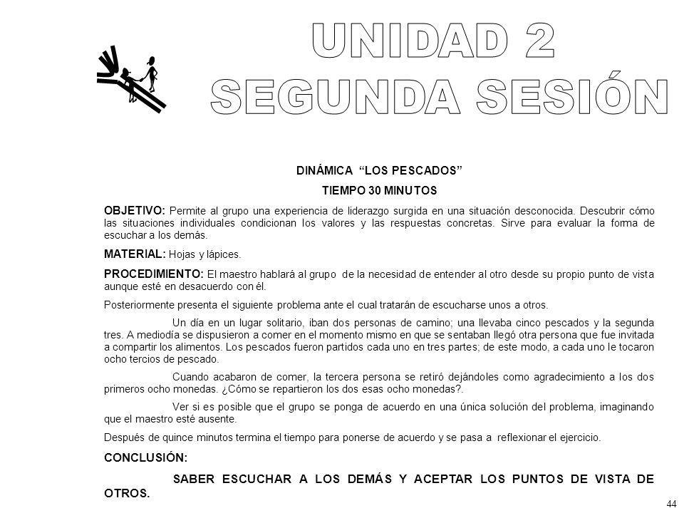DINÁMICA LOS PESCADOS TIEMPO 30 MINUTOS OBJETIVO: Permite al grupo una experiencia de liderazgo surgida en una situación desconocida.