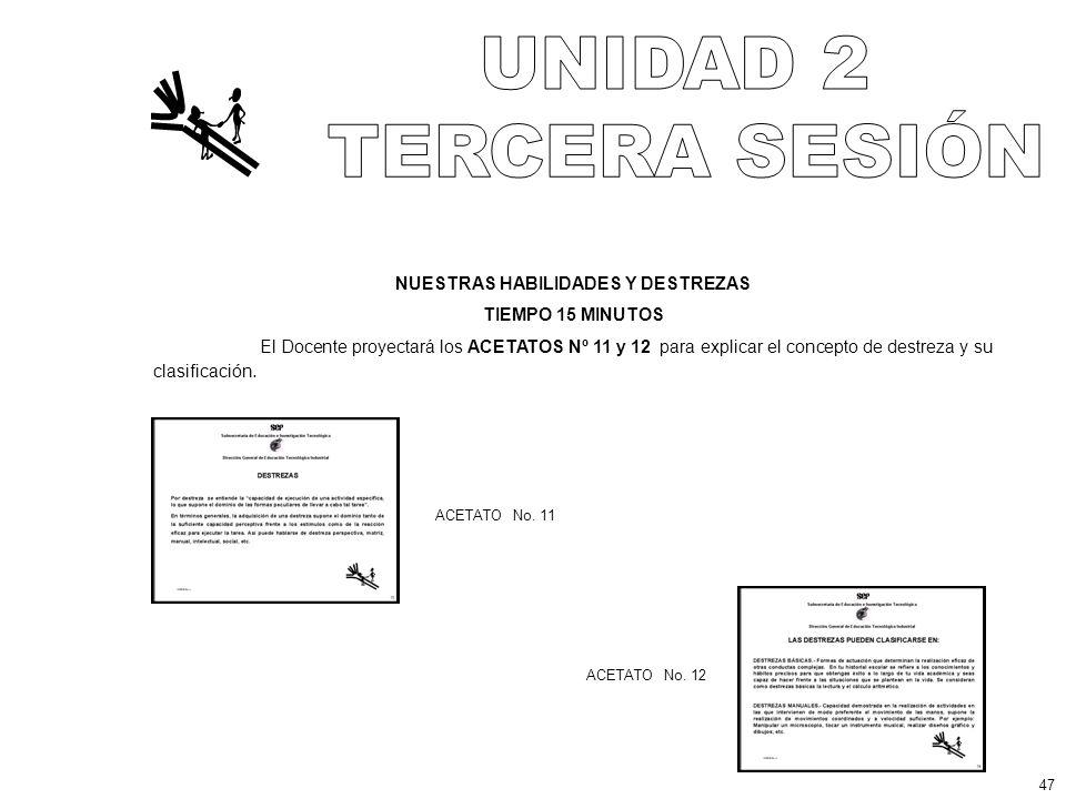 NUESTRAS HABILIDADES Y DESTREZAS TIEMPO 15 MINUTOS El Docente proyectará los ACETATOS Nº 11 y 12 para explicar el concepto de destreza y su clasificación.