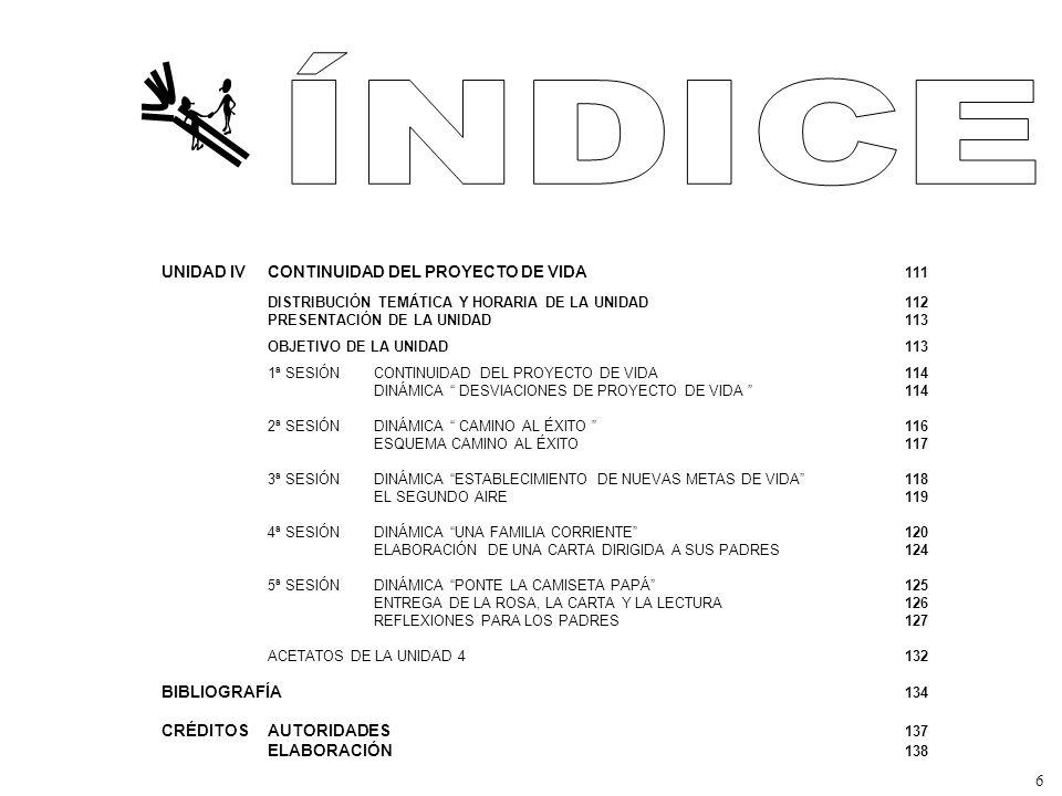 UNIDAD IVCONTINUIDAD DEL PROYECTO DE VIDA 111 DISTRIBUCIÓN TEMÁTICA Y HORARIA DE LA UNIDAD112 PRESENTACIÓN DE LA UNIDAD113 OBJETIVO DE LA UNIDAD113 1ª SESIÓN CONTINUIDAD DEL PROYECTO DE VIDA114 DINÁMICA DESVIACIONES DE PROYECTO DE VIDA 114 2ª SESIÓNDINÁMICA CAMINO AL ÉXITO 116 ESQUEMA CAMINO AL ÉXITO117 3ª SESIÓN DINÁMICA ESTABLECIMIENTO DE NUEVAS METAS DE VIDA118 EL SEGUNDO AIRE119 4ª SESIÓNDINÁMICA UNA FAMILIA CORRIENTE120 ELABORACIÓN DE UNA CARTA DIRIGIDA A SUS PADRES124 5ª SESIÓN DINÁMICA PONTE LA CAMISETA PAPÁ125 ENTREGA DE LA ROSA, LA CARTA Y LA LECTURA126 REFLEXIONES PARA LOS PADRES127 ACETATOS DE LA UNIDAD 4132 BIBLIOGRAFÍA 134 CRÉDITOSAUTORIDADES 137 ELABORACIÓN 138 6
