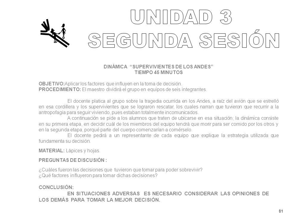 DINÁMICA SUPERVIVIENTES DE LOS ANDES TIEMPO 45 MINUTOS OBJETIVO:Aplicar los factores que influyen en la toma de decisión.