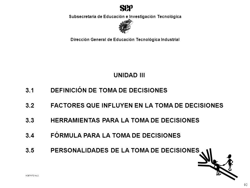 ACETATO No.2 Subsecretaría de Educación e Investigación Tecnológica Dirección General de Educación Tecnológica Industrial 92 UNIDAD III 3.1DEFINICIÓN DE TOMA DE DECISIONES 3.2FACTORES QUE INFLUYEN EN LA TOMA DE DECISIONES 3.3HERRAMIENTAS PARA LA TOMA DE DECISIONES 3.4FÓRMULA PARA LA TOMA DE DECISIONES 3.5PERSONALIDADES DE LA TOMA DE DECISIONES