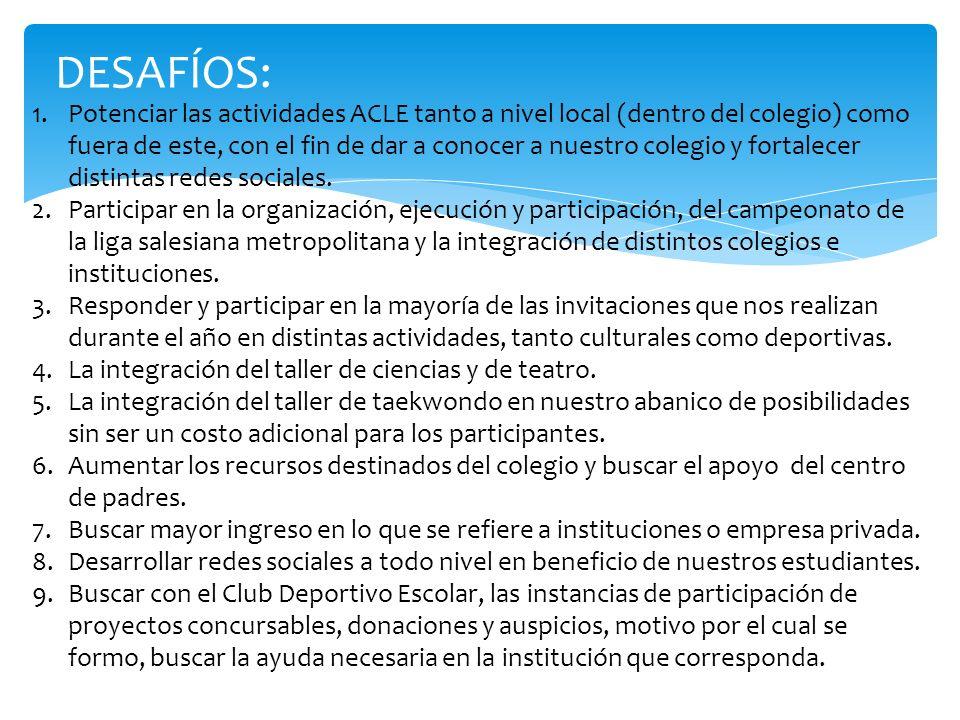 DESAFÍOS: 1.Potenciar las actividades ACLE tanto a nivel local (dentro del colegio) como fuera de este, con el fin de dar a conocer a nuestro colegio