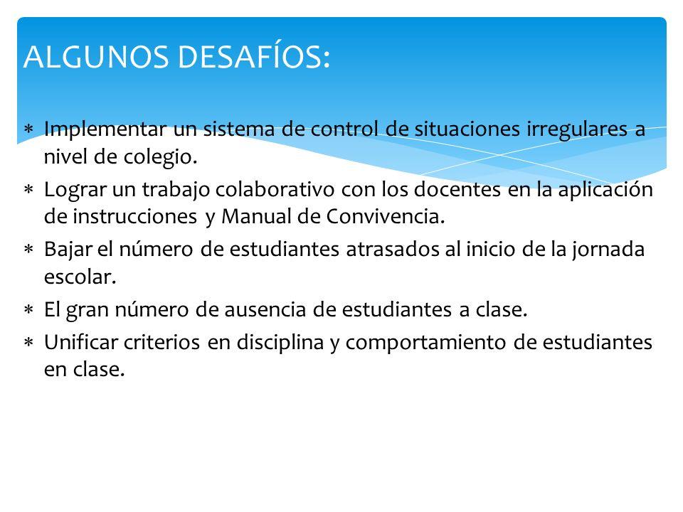 ALGUNOS DESAFÍOS: Implementar un sistema de control de situaciones irregulares a nivel de colegio. Lograr un trabajo colaborativo con los docentes en