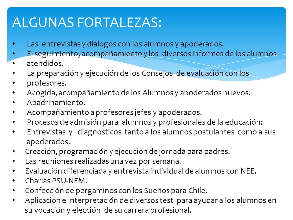 ALGUNAS FORTALEZAS: Las entrevistas y diálogos con los alumnos y apoderados. El seguimiento, acompañamiento y los diversos informes de los alumnos ate