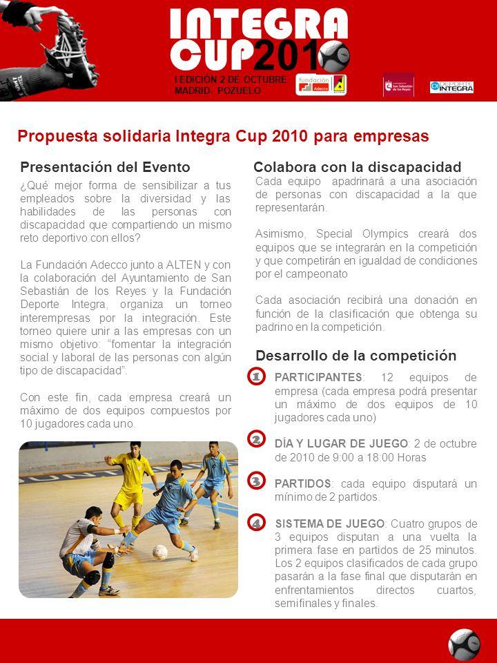 Propuesta solidaria Integra Cup 2010 para empresas Presentación del Evento ¿Qué mejor forma de sensibilizar a tus empleados sobre la diversidad y las
